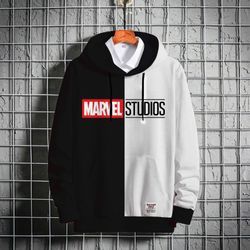 Stylish Premium Winter Hoodie - Black & White - Marvel