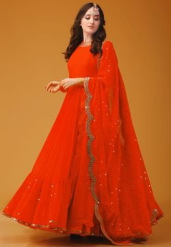 Semi-Stitched Georgette Embroidery Work Gown For Women