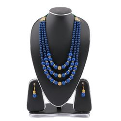 Deep Blue Real Pearls Setting Jewellery Set(JS_09) - RCT