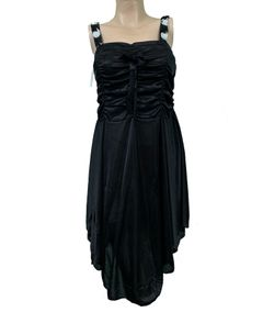 Black Soft Silk Night Dress for Women SL-9013 - SLZ