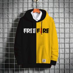 Stylish Premium Winter Hoodie - Black & Yellow - Free Fire