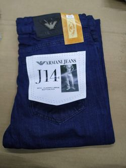 Men's Exclusive Stretch Denim Full Pant - Armani_001_Navy Blue