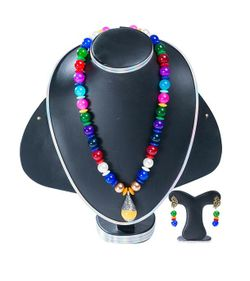 Multi Color Stone Pearl Handmade Jewellery Set For Women(JS_41)