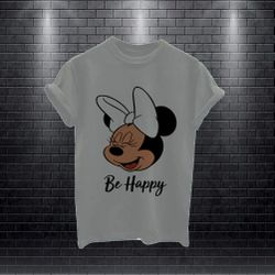 Women's Fashionable Half Sleeve T-shirt-Ash-Be happy