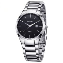 CURREN watch 8106 Fashion Simple Men Watch Slim Steel Strap Waterproof Watch For Men Quartz Business Watch Clock-Silver Black-1-SBE