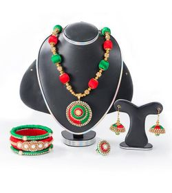 Red & Green Color Silk Thread Jewellery Set(JS_21) - RCT