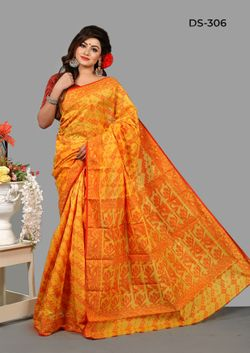 Indian Silk Jamdani Saree-DS-306