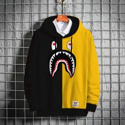 Stylish Premium Winter Hoodie - Black & Yellow - Bape