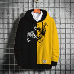 Stylish Premium Winter Hoodie - Black & Yellow - X-Man
