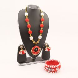 Red and White Silk Thread Jewellery Set(JS_28) - BZX001 - RCT