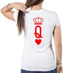 Female Casual T-shirt - White/Red - Queen - XL