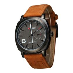 Curren Leather Analog Watch for Men - Brown and Black - SKA