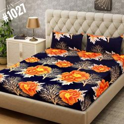 Double Size Cotton Bed Sheet With 3 Pc Pillow Cover - Multicolor