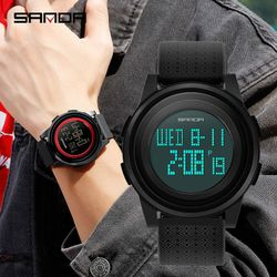 SANDA 337 Ultra-thin 9mm Sport Watch Men Electronic LED Digital Wrist Watches Clock Calendar Watch - 1-SBE