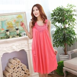 New Arrival Sexy Pink Ice Silk Satin Sleepwear for Women - 324-2 - option