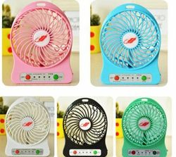 F95B Portable Mini USB Fan Rechargeable Battery Operated w/ LED Lamp for Indoor/ Outdoor/ Kids Table Mini Fan w/ 18650 Battery (Any Random Can get) - WLB