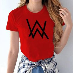 Female Casual T-shirt - Red - Allan Walker - XXL