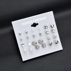 Silver 12 Pair  Pack Sets Earring Jewelry Set for Women -IP 001-IPC