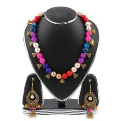 Multi Color Real Pearls Jewellery Set(JS_64)